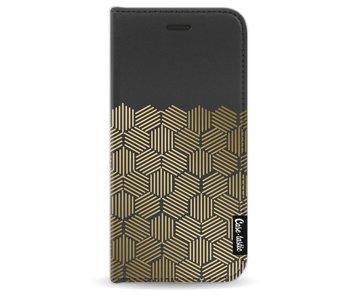 Golden Hexagons - Wallet Case Black Apple iPhone 7