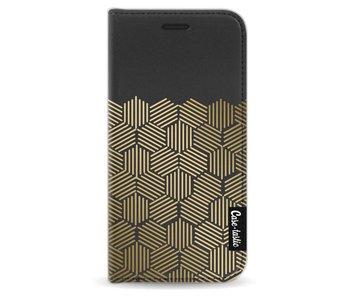 Golden Hexagons - Wallet Case Black Apple iPhone 5 / 5s / SE