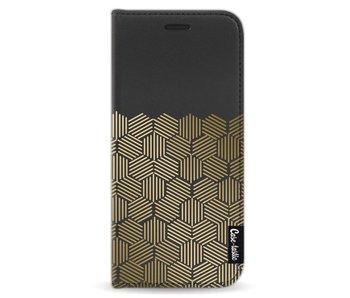 Golden Hexagons - Wallet Case Black Samsung Galaxy S8