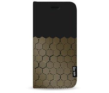 Golden Hexagons - Wallet Case Black Samsung Galaxy S8 Plus