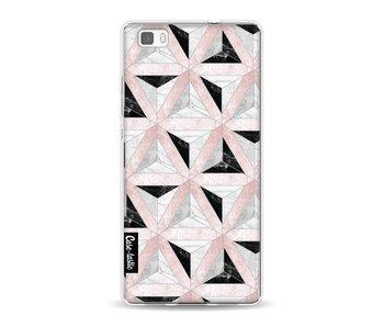 Marble Triangle Blocks Pink - Huawei P8 Lite