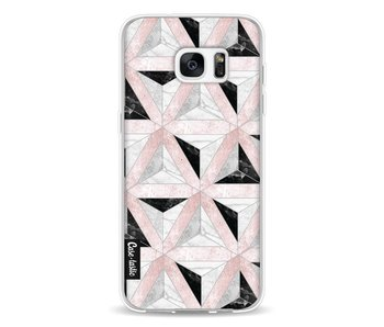 Marble Triangle Blocks Pink - Samsung Galaxy S7 Edge