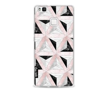 Marble Triangle Blocks Pink - Huawei P9 Lite
