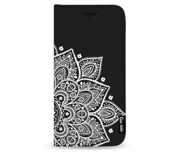 Floral Mandala White - Wallet Case Black Samsung Galaxy Note 8