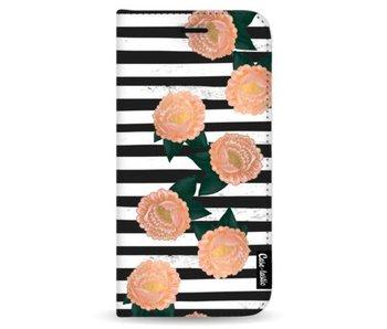 Striped Winter Flowers - Wallet Case Black Samsung Galaxy Note 8