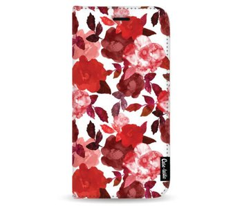 Royal Flowers Red - Wallet Case White Samsung Galaxy Note 8