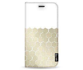 Golden Hexagons - Wallet Case White Samsung Galaxy Note 8