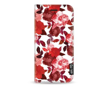 Royal Flowers Red - Wallet Case White Apple iPhone 7 / 8