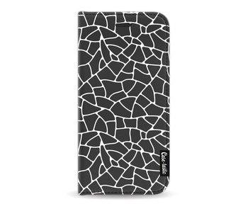 Transparent Mosaic White - Wallet Case Black Apple iPhone 7 / 8