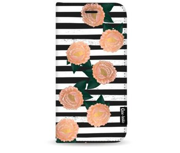 Striped Winter Flowers - Wallet Case Black Apple iPhone 7 Plus / 8 Plus
