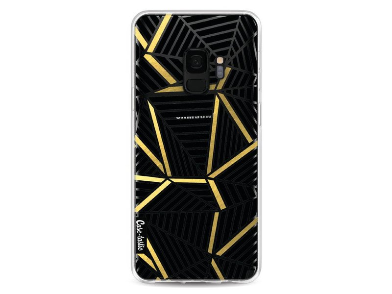Casetastic Softcover Samsung Galaxy S9 - Abstraction Lines Black Gold Transparent