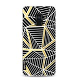 Casetastic Softcover Samsung Galaxy A8 (2018) - Abstraction Lines Black Gold