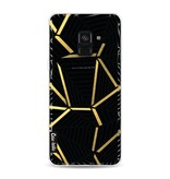 Casetastic Softcover Samsung Galaxy A8 (2018) - Abstraction Lines Black Gold Transparent