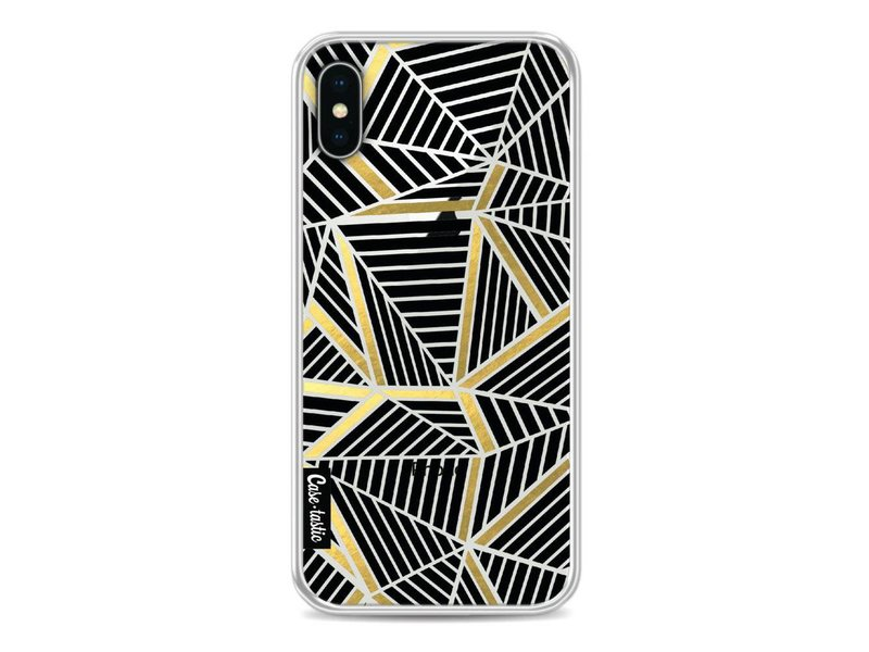 Casetastic Softcover Apple iPhone X - Abstraction Lines Black Gold Transparent