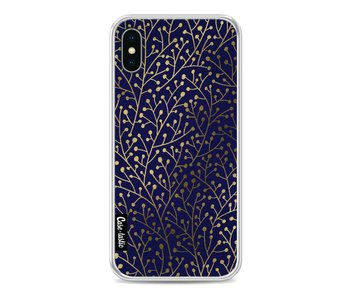 Berry Branches Navy Gold - Apple iPhone X