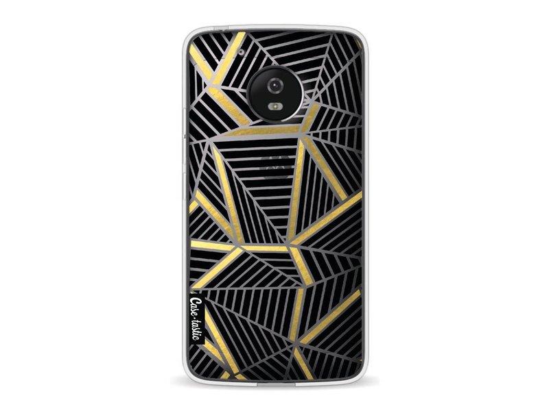 Casetastic Softcover Motorola Moto G5 - Abstraction Lines Black Gold Transparent