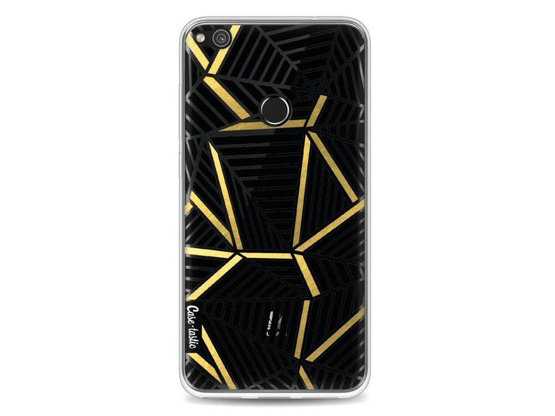 Casetastic Softcover Huawei P8 Lite (2017) - Abstraction Lines Black Gold Transparent