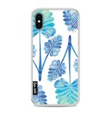 Casetastic Softcover Apple iPhone X - Blue Ombre Palm Leaf Trifecta Pattern