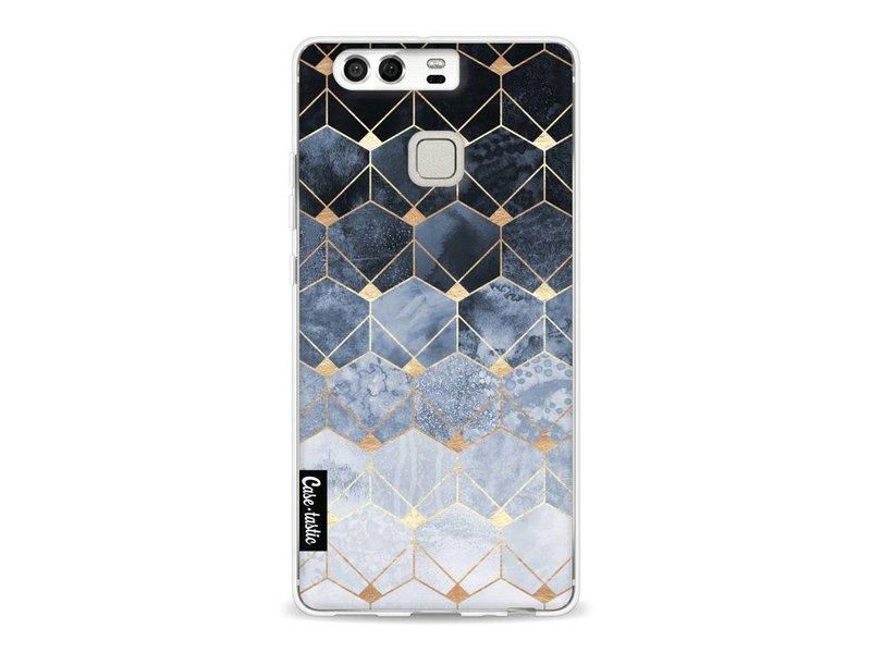 Casetastic Softcover Huawei P9 - Blue Hexagon Diamonds