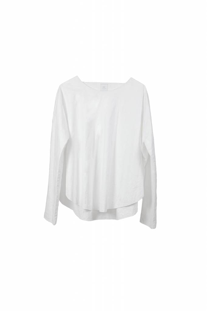 Shirt with round hem in organic cotton white