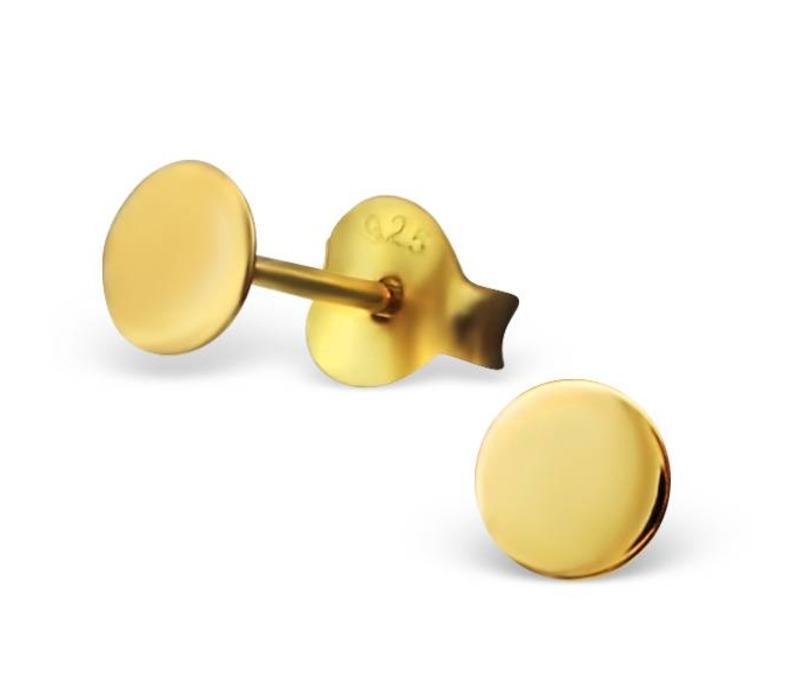 Zarter Ohrstecker rund aus 925er Sterling Silber - Gold doubliert