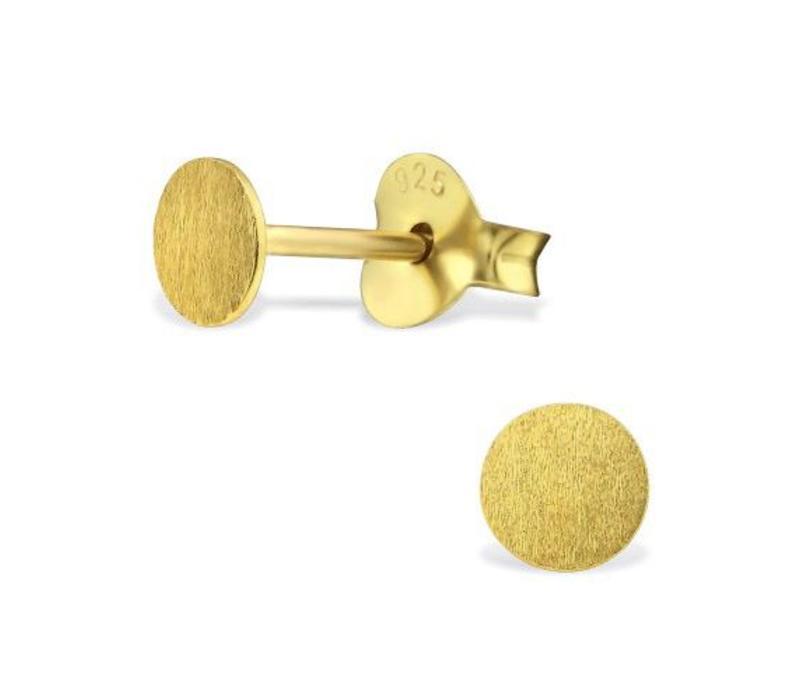 Zarter Ohrstecker rund aus 925er Sterling Silber - Gold doubliert matt