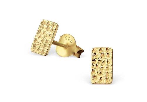Puristische Ohrstecker Rechteck aus 925er Sterling Silber - Gold doubliert