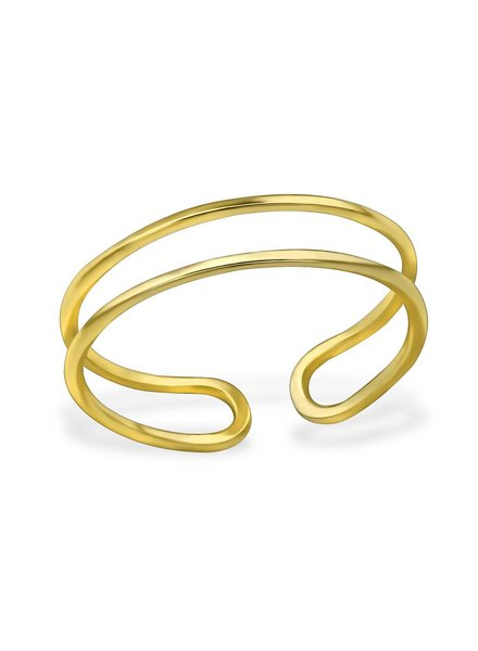 relined Gold - double ring 925 sterling silver