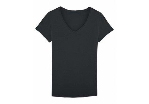 Basic T-Shirt V-Ausschnitt aus Bio-Baumwolle Schwarz