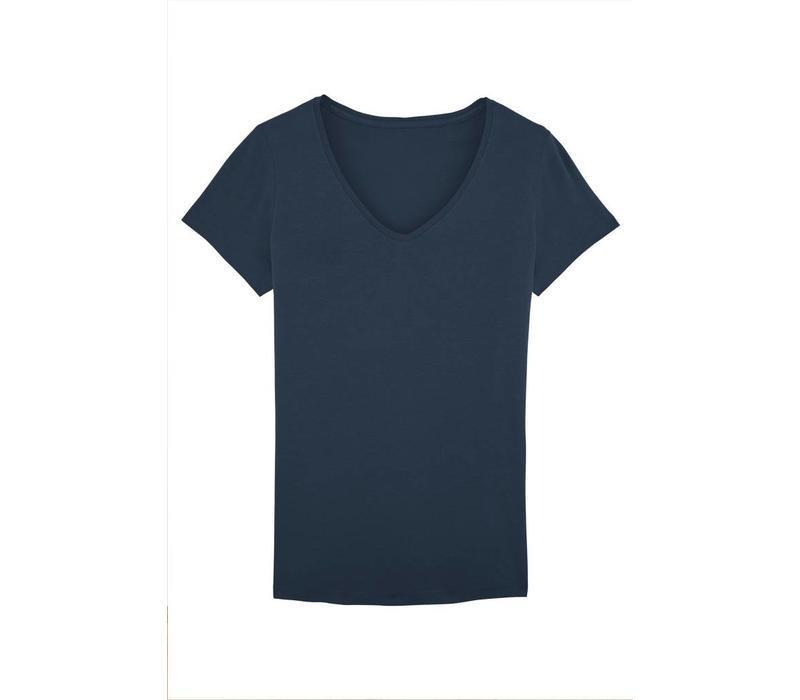 Basic T-Shirt V-Ausschnitt aus Bio-Baumwolle - Navy