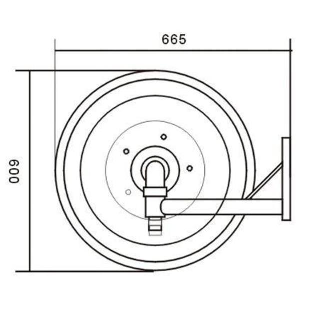 """Brandhaspel automatisch zwenkbaar met 1"""" blusslang"""
