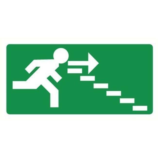 Pikt-o-Norm Veiligheidspictogram nooduitgang rechts trappen