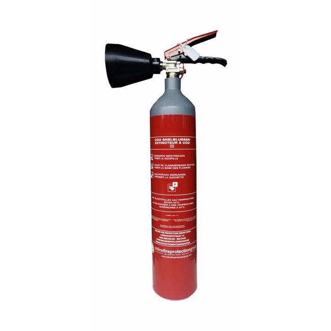 Mobiak CO2-brandblusser 2kg staal met BENOR-label (B) permanente druk