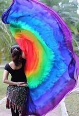 Seiden Schleier Halbrund tie dye Rainbow