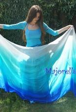 Seidenschleier weiß pfauengrün türkis blau