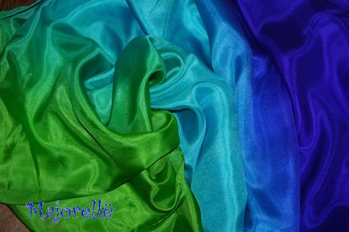Bauchtanzschleier aus Seide in blau, türkis, grün