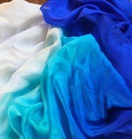 Bauchtanzschleier aus Seide in blau-türkis-weiß