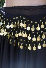 Hüfttuch schwarz mit goldenen Müntzen