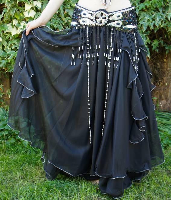 Bauchtanzrock mit Bänder schwarz