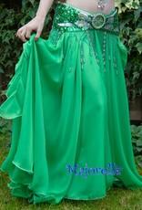 Bauchtanzrock mit Bänder in grün