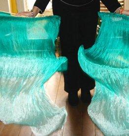 Fächerschleier  / Fan-Schleier aus Seide in pfauengrün Farbverlauf