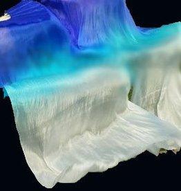 Fächerscheier / Seidenschleierfächer mit Farbverlauf blau-weiß