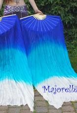 Fächerschleier / Seidenschleierfächer mit Farbverlauf blau-weiß