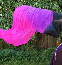 Fächerschleier / Fan-Schleier aus Seide in schwarz-lila-fuchsia