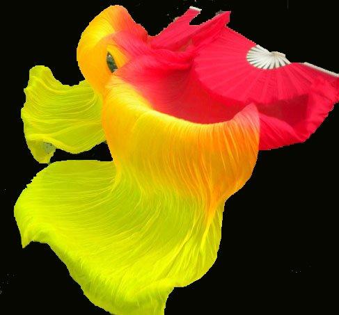 Seidenschleierfächer  / Fan-Schleier in rot-orange-gelb