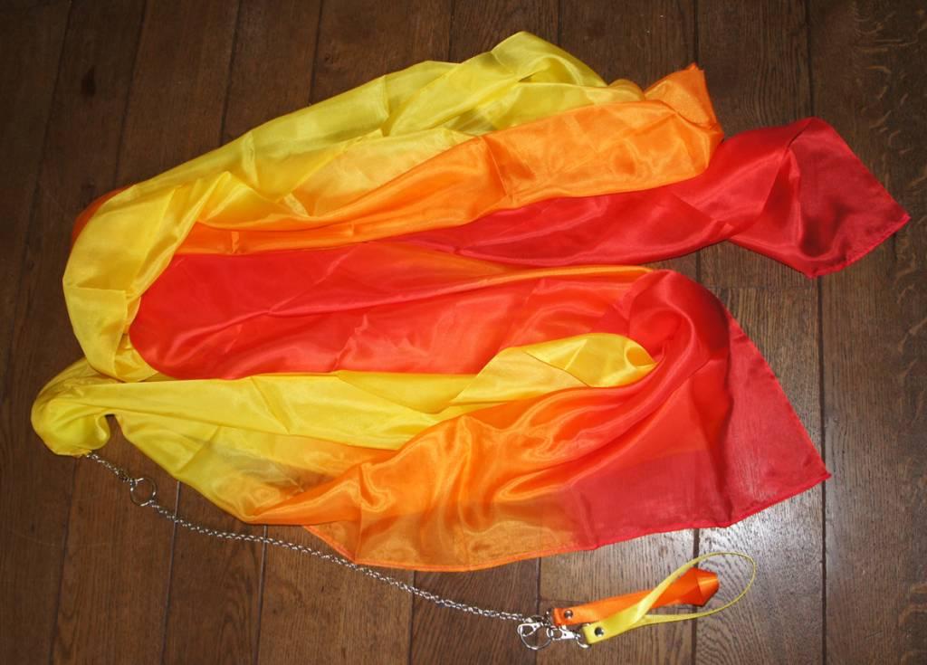 Bauchtanz Poi aus Seide in rot orange gelb