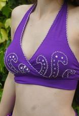 Bauchtanztop mit Silberperlen in lila