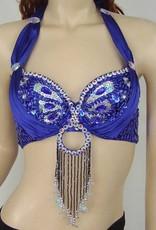Bauchtanz BH Modell 'Peacock' in blau