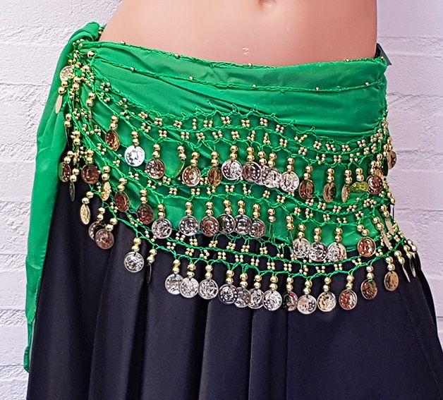 Sakkara Chiffon-Münztuch und Halbrundschleier gleicher Farbe (grün)