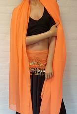 Sakkara Chiffon-Münztuch und Halbrundschleier gleicher Farbe (orange)